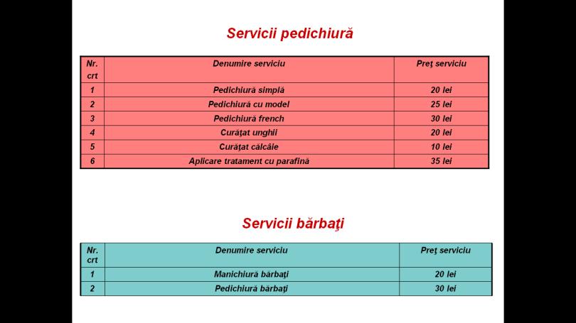 serivii pedichiura